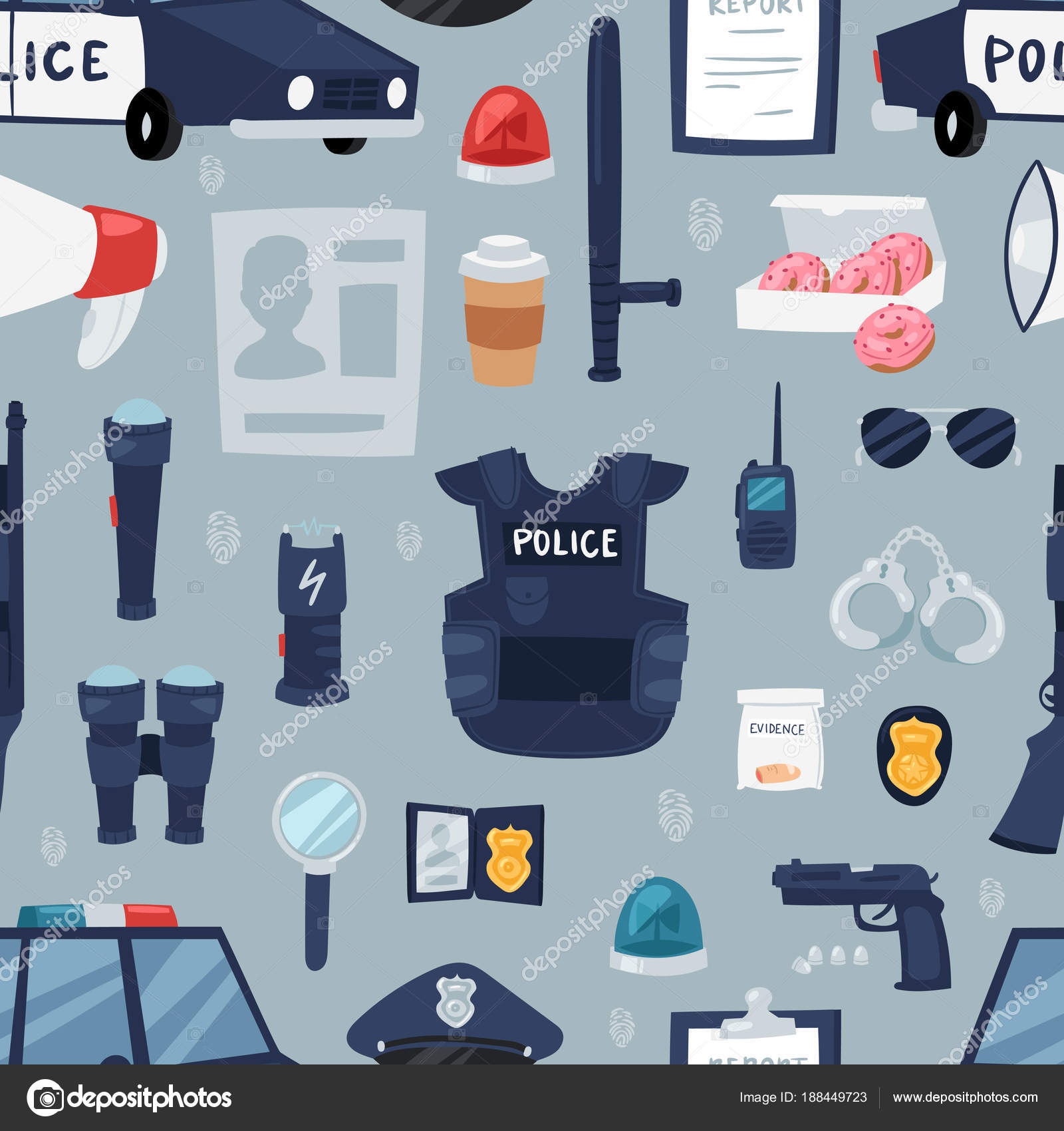 Police Vector Policy Signs Of Policeman And Police Car Illustration