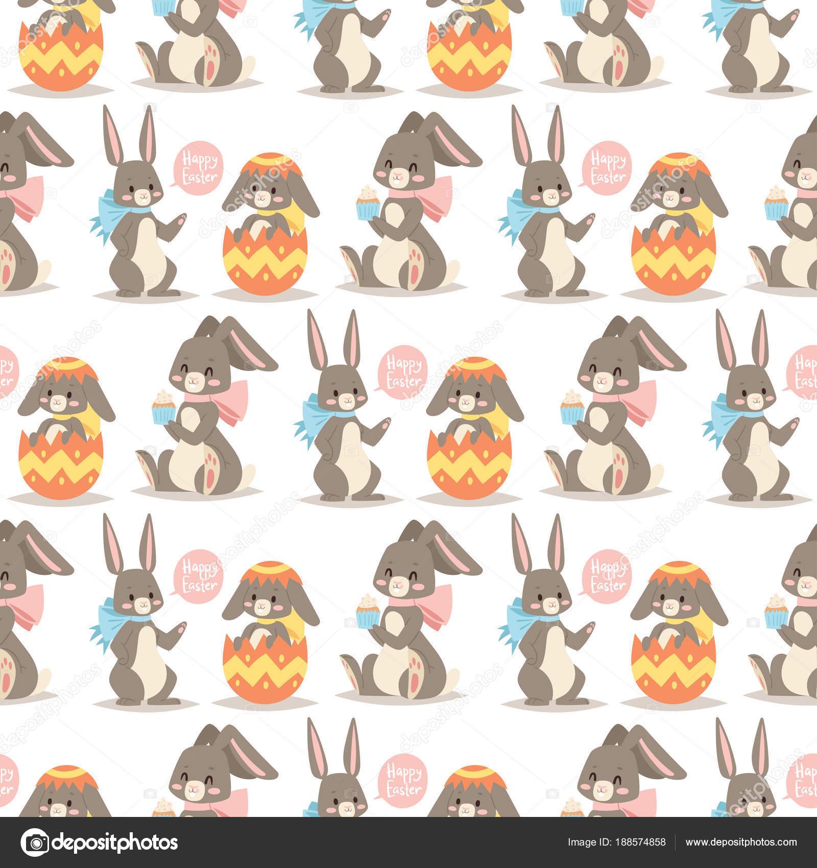 イースターのウサギ ベクトル ホリデイ ・ ウサギとイースター卵ポーズ