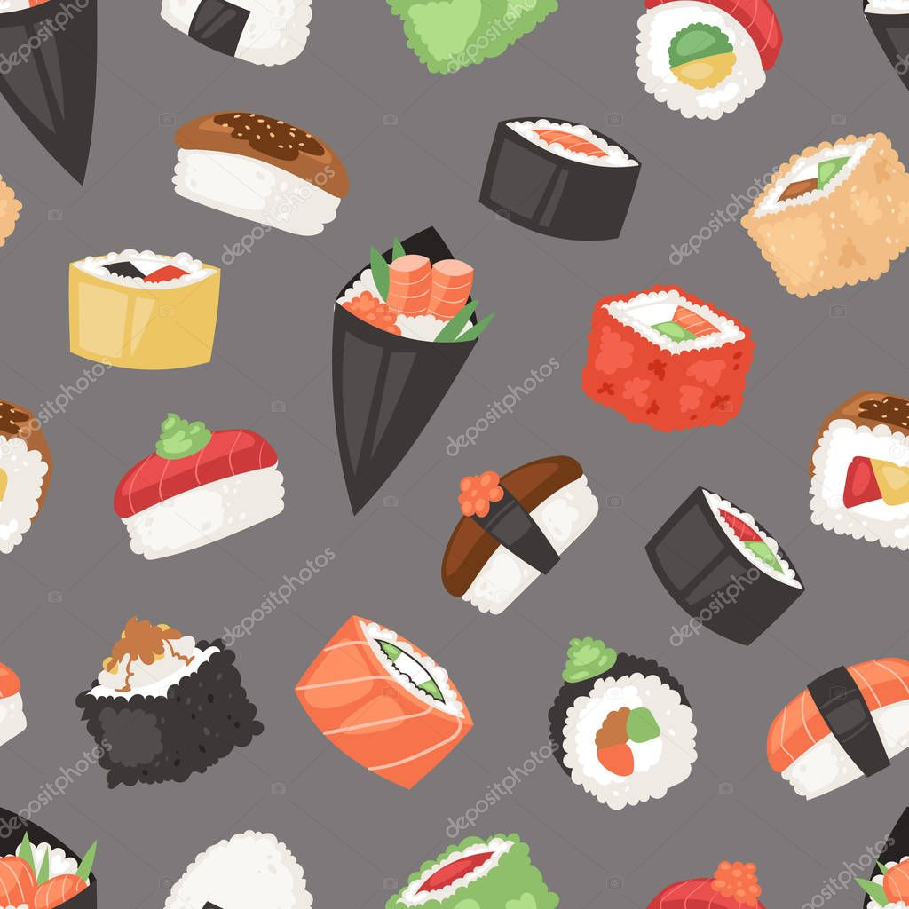 Japanese Food Vector Sushi Sashimi Roll Or Nigiri And Appetizer With Seafood Rice In Japan Restaurant Illustration Japanization Cuisine Set Isolated On Seamless Pattern Background Premium Vector In Adobe Illustrator Ai