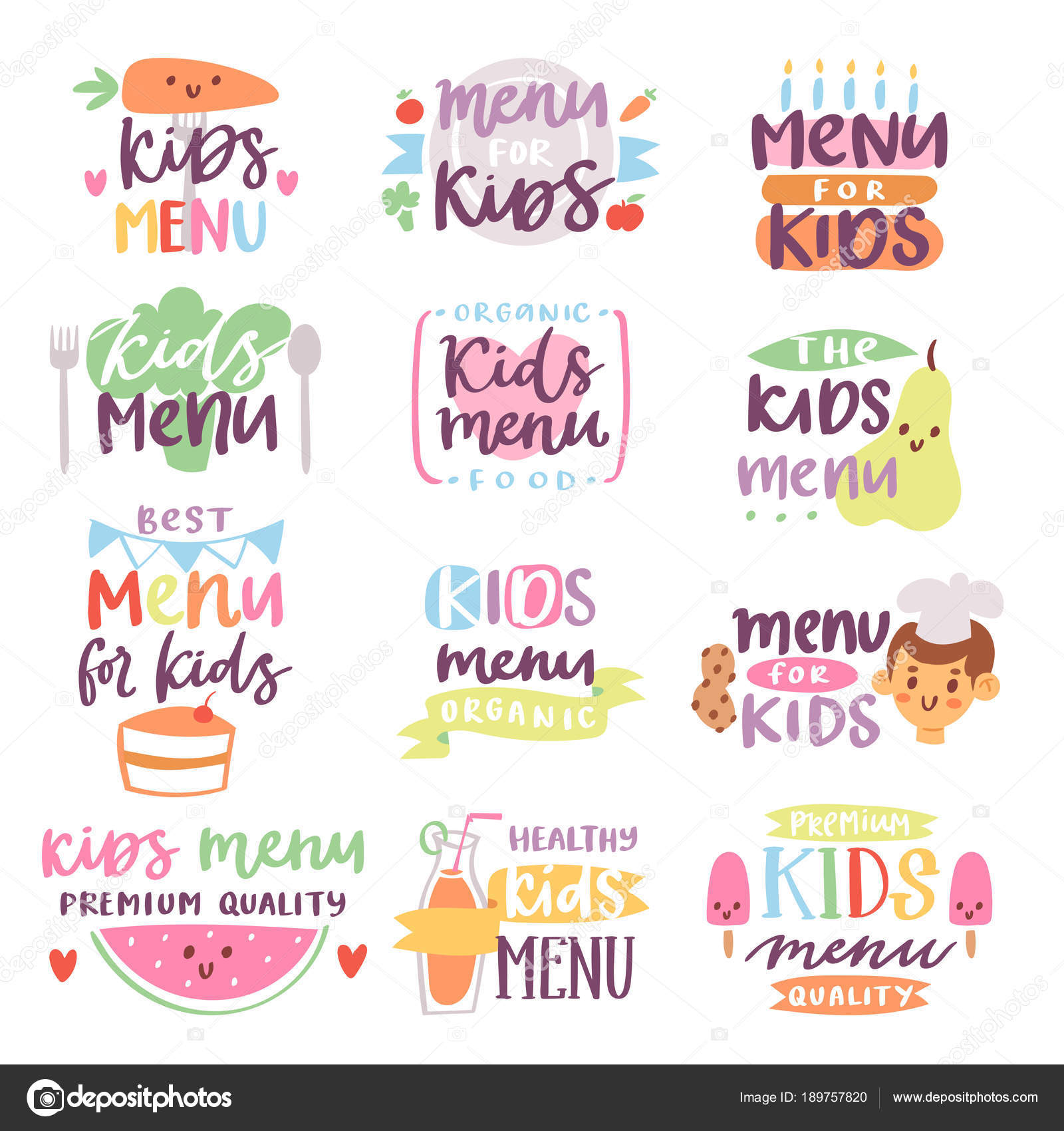 Plantilla de menú signo vector ilustración Letras de niños para ...