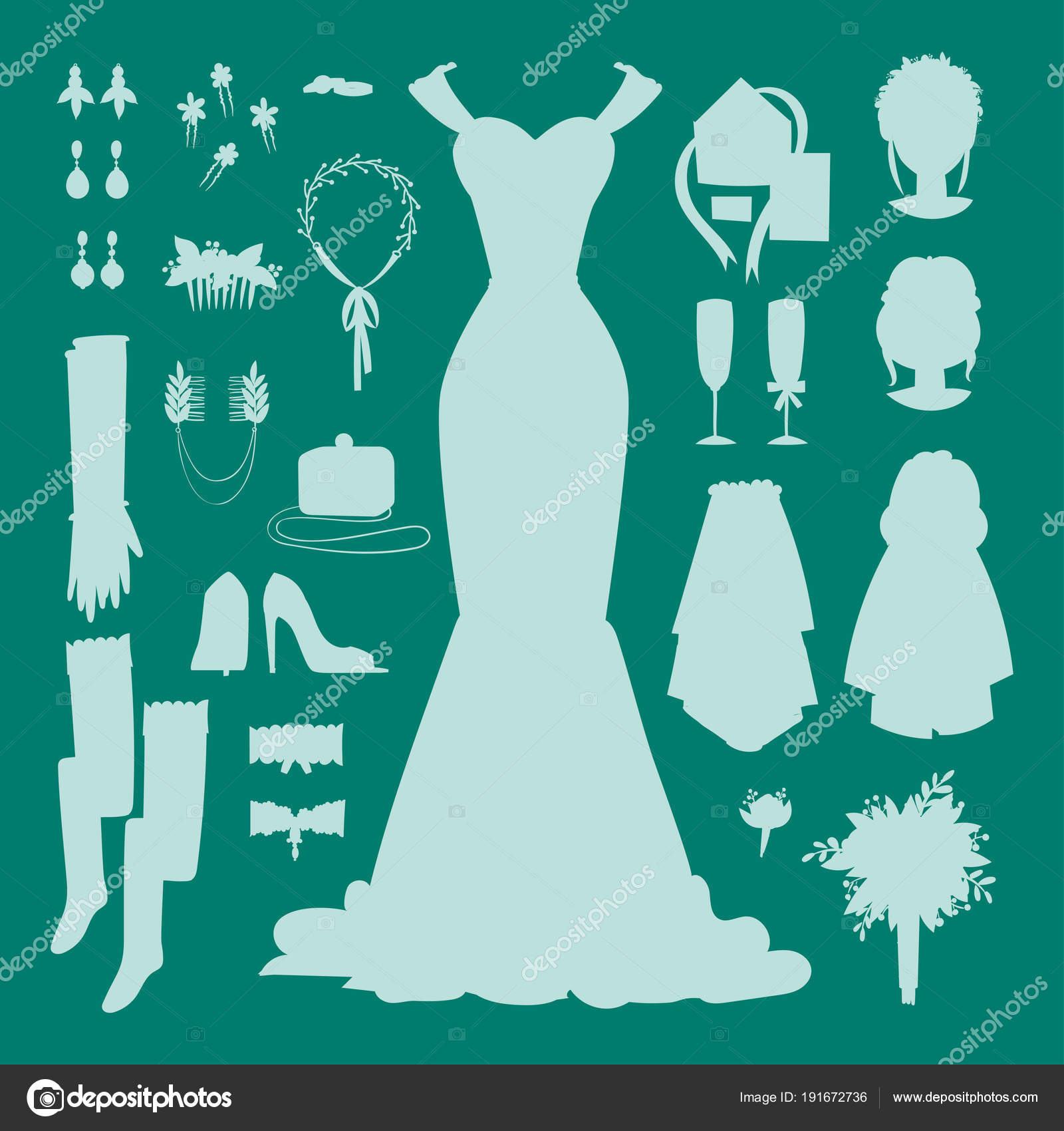 Wedding bride dress accessories vector fashion style bridal shower ...