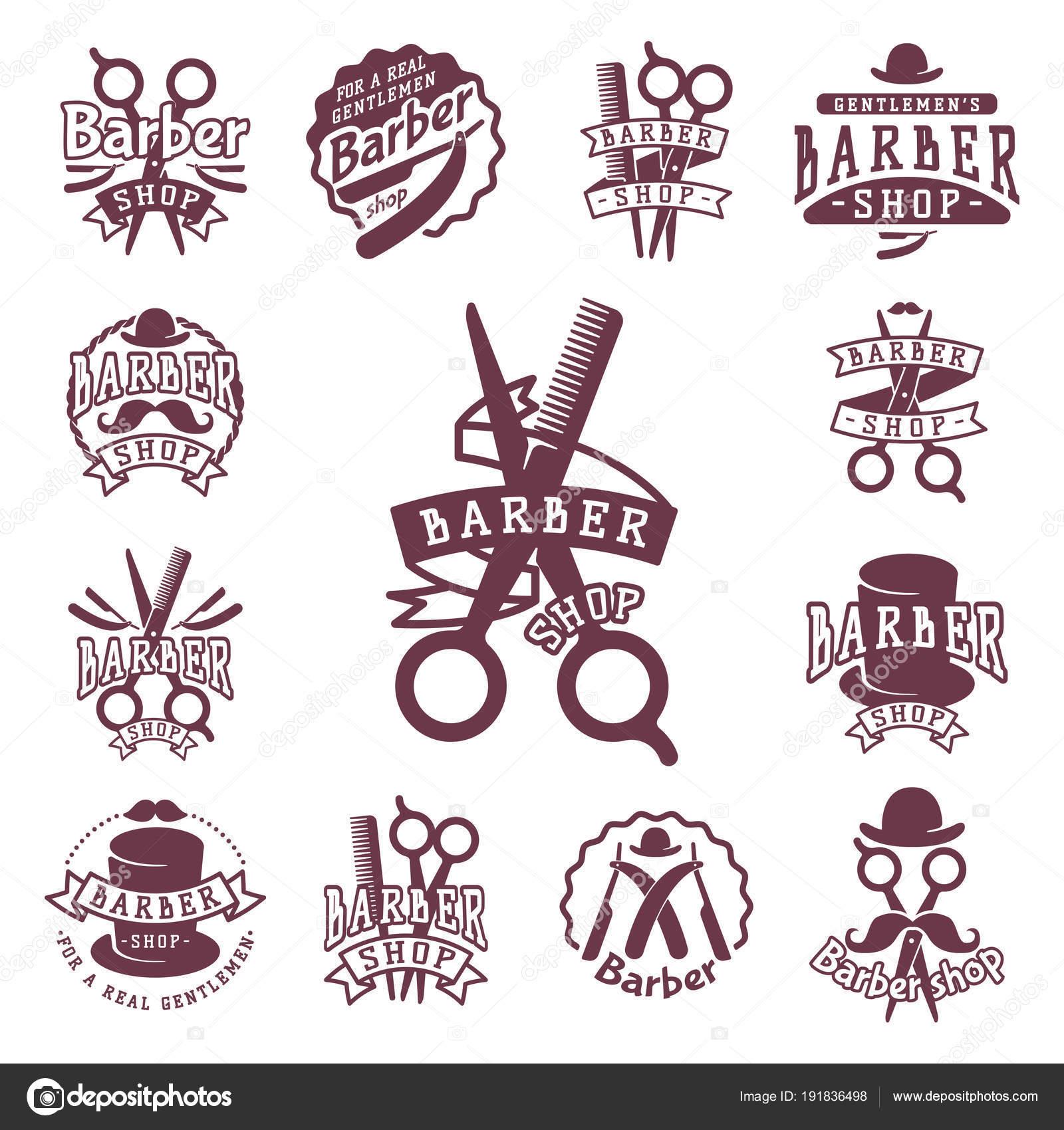 A tipografia cabeleireiro barbeiro vintage vetor logotipo estilo retro  floresce caligráfico barbearia icon ilustração — Vetores