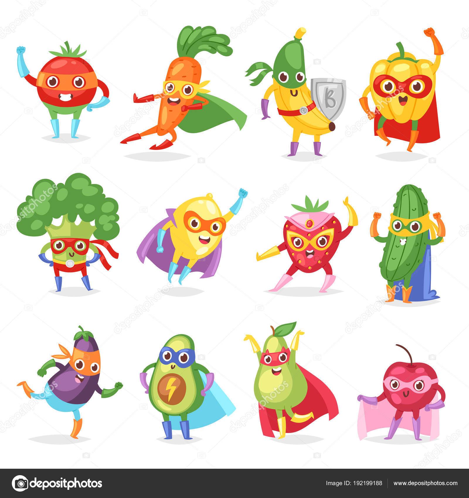 superhéroe frutas vector personaje de dibujos animados con sabor a