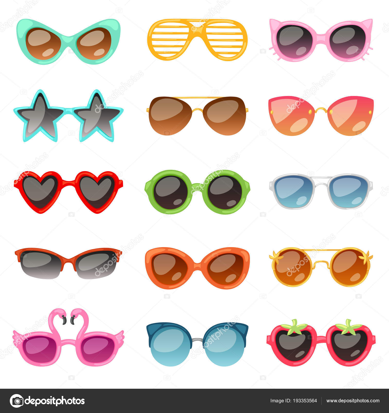 009674bfd6f Glasses vector cartoon eyeglasses or sunglasses in stylish shapes for party  and fashion optical spectacles set of eyesight view accessories  illustration ...