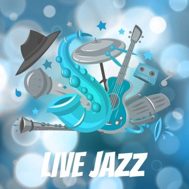 Live Jazz festival and Jazz music party vector poster illustration with saxsophone, drum and guitar on blur bokeh backdrop.