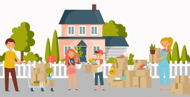 Moving new home, house or appartment people with cardboard boxes, young couple and shipping cargo delivery service workers flat cartoon illustration. Family move to new house, movement to country. icon