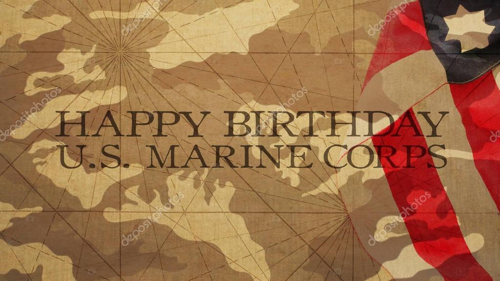 Joyeux Anniversaire Que Nous Marines Drapeau Fond De Camouflage