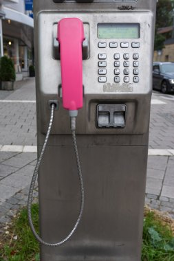 Street Public Pink Pay Phone Booth Metal Dial Pad Cord