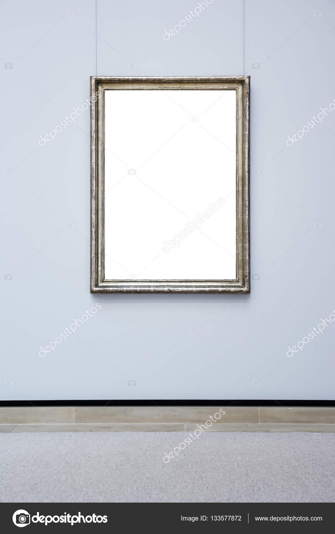 Kunstmuseum Rahmen Blaue Wand Verzierten Minimalistisches Design Weiß  Isoliert U2014 Stockfoto