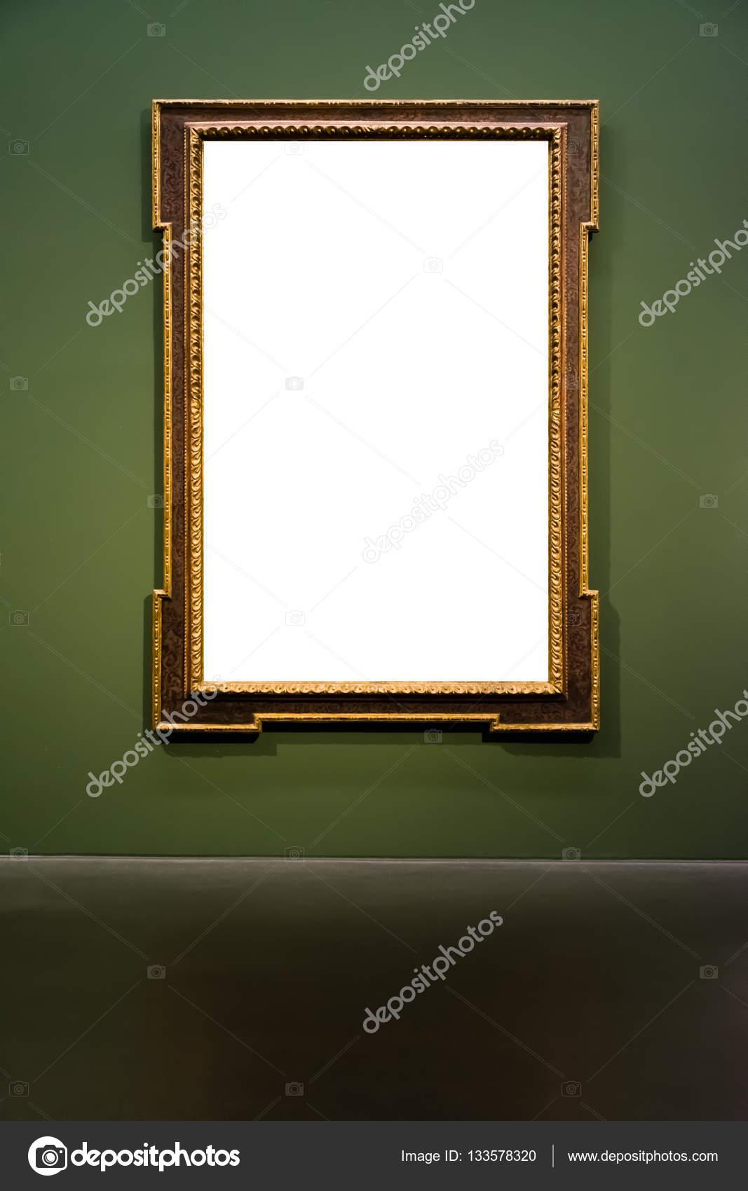 Kunstmuseum Rahmen dunkel grüne Wand verzierten Design weiß isoliert ...