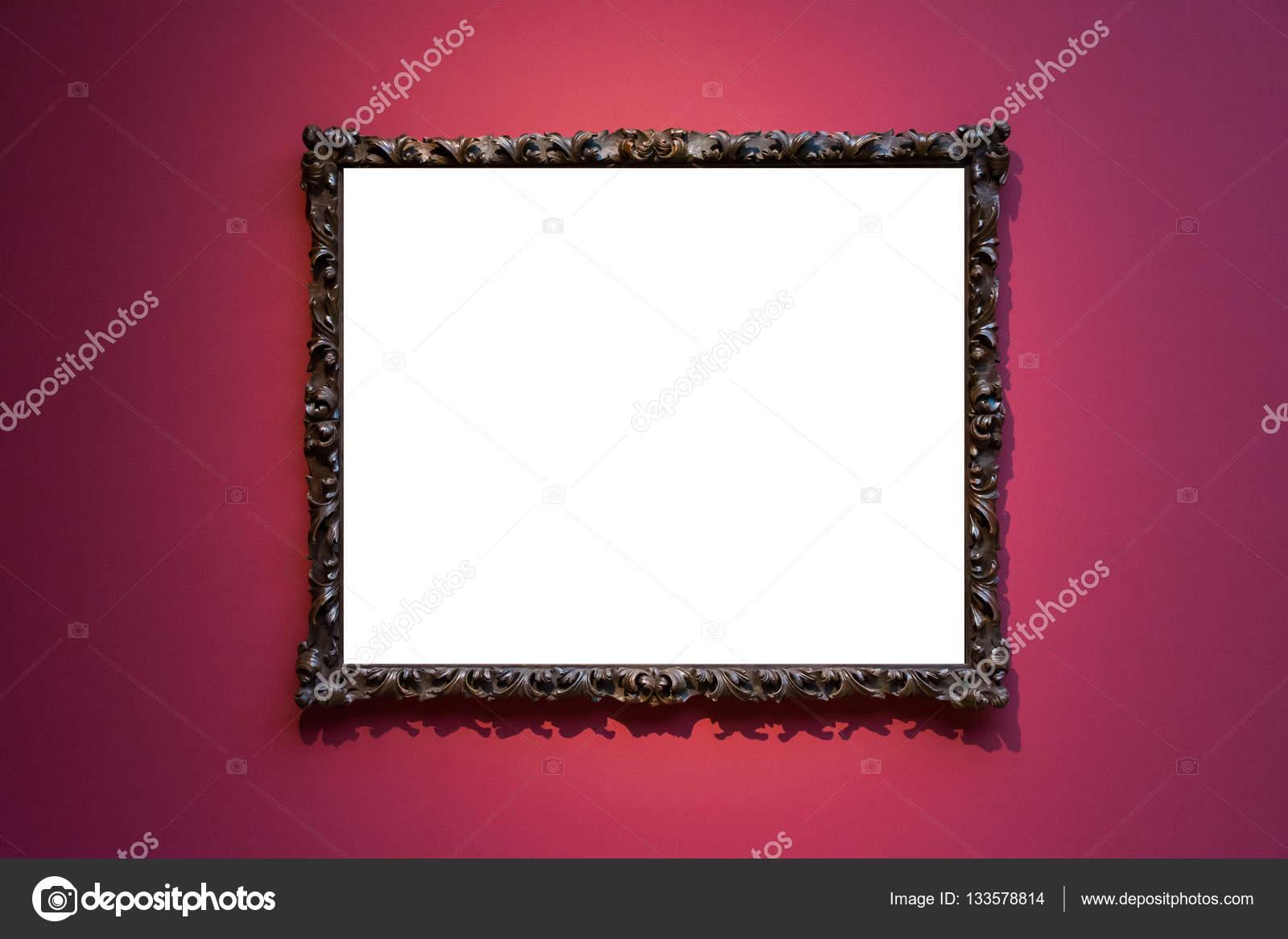 musée d'art cadre mur rouge orné design blanc isolé clipping