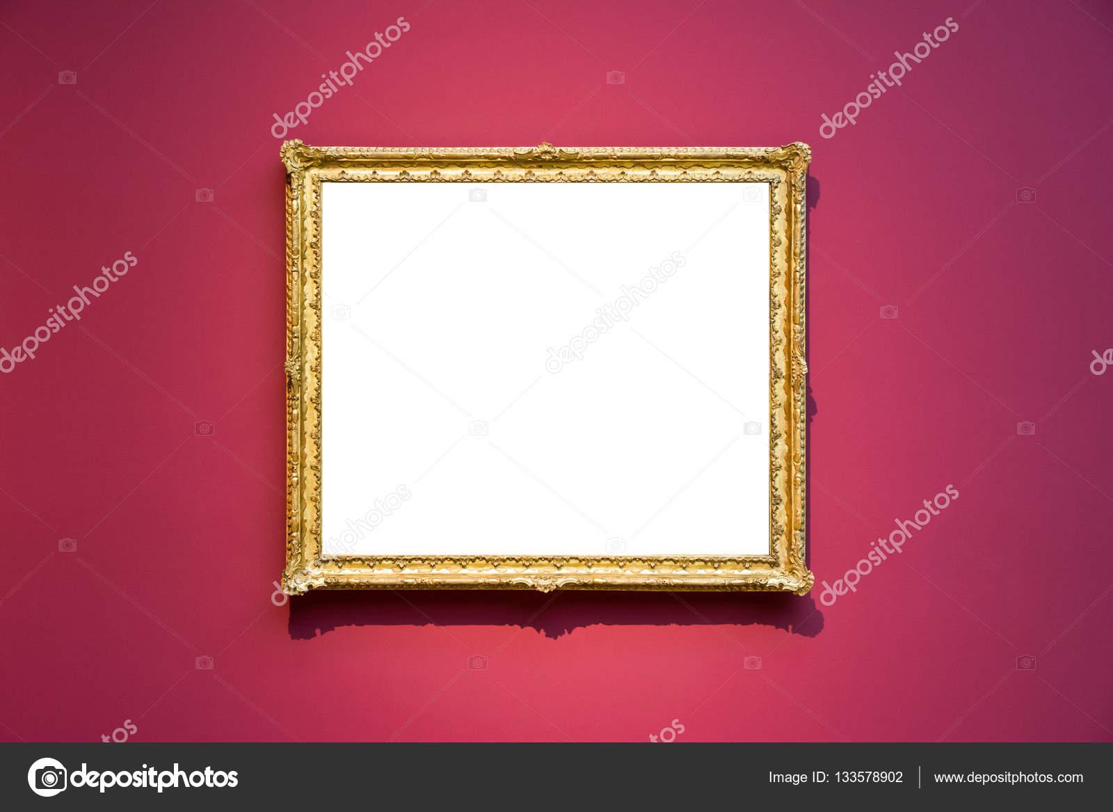 Museo de arte marco pared roja diseño ornamentado blanco aislado ...