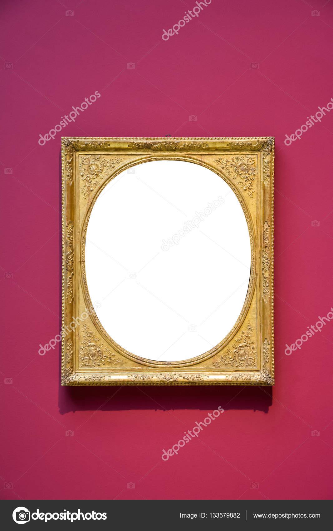 Runde Kunstmuseum Rahmen rote Wand verzierten Design weiß isoliert ...
