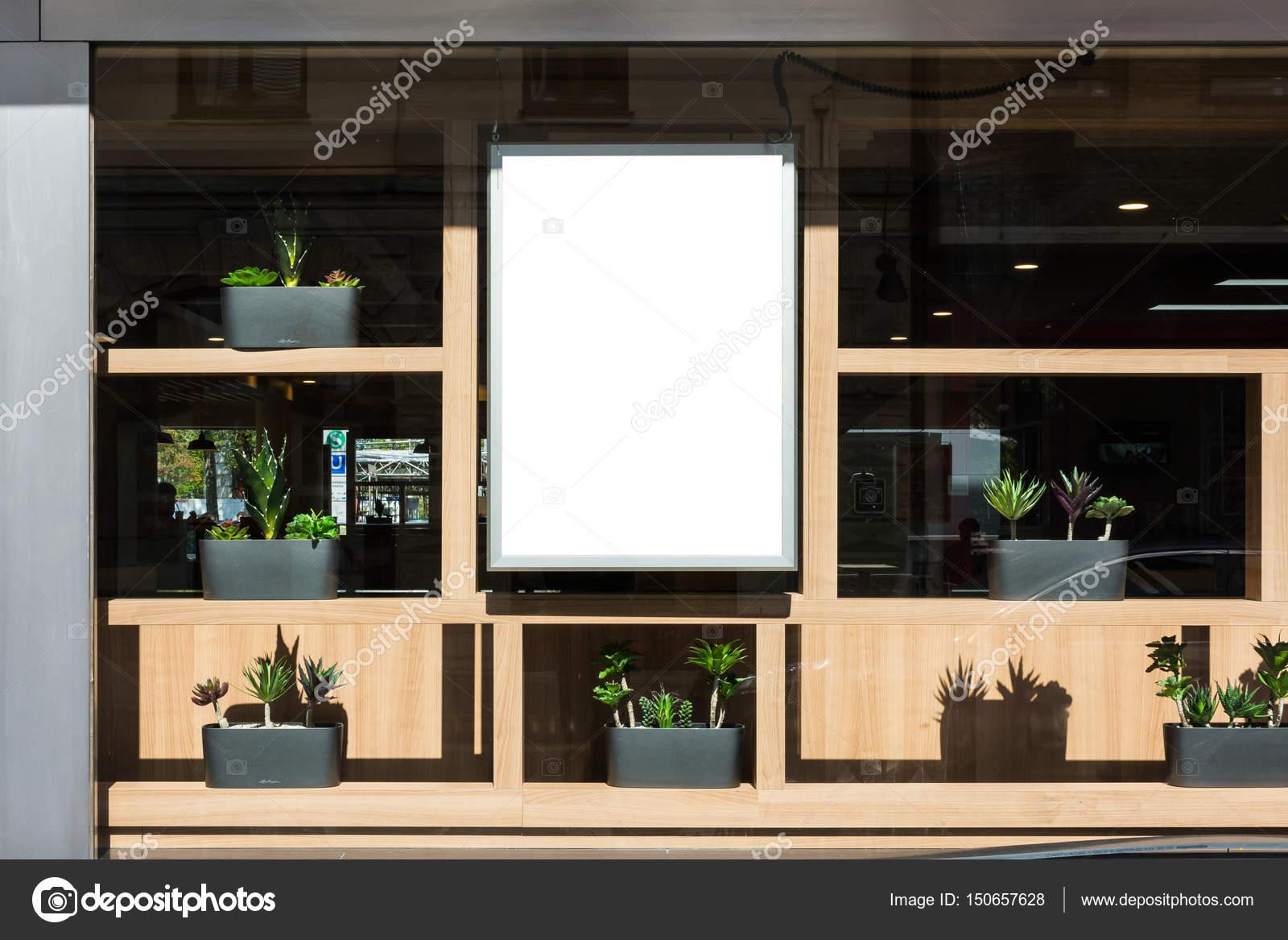 Leeg restaurant teken moderne hedendaagse decoratie buitenkant gl