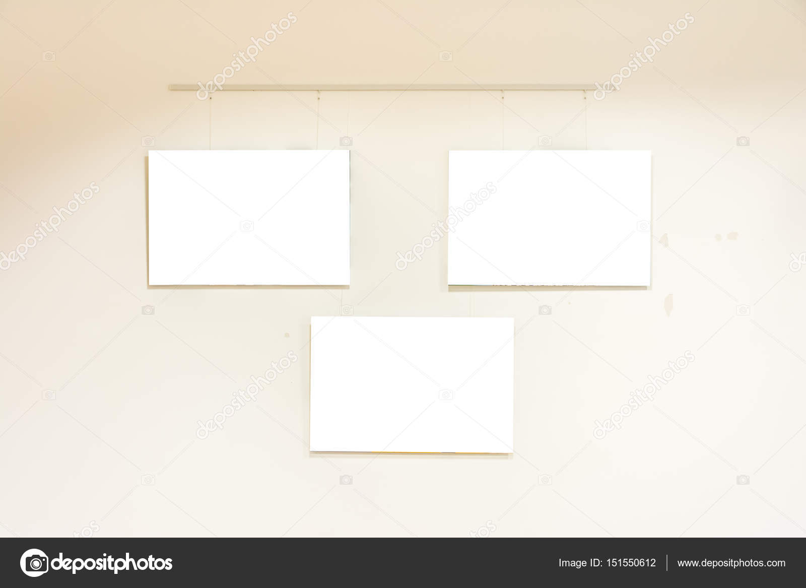Small Modern Contemporary Art Museum Display Frames Blank White ...