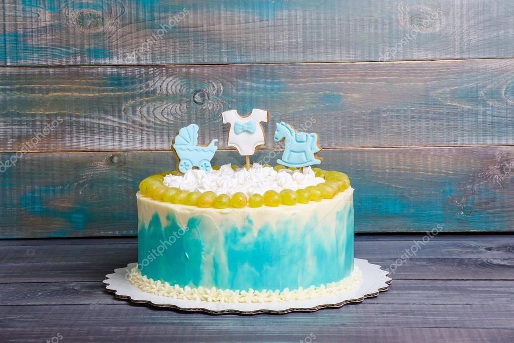 Baby Boy Birthday Cake With Gingerbread And Grapes Stock Photo