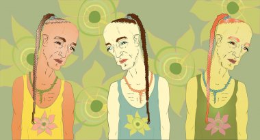 sad male hippie, with a pigtail. A set of three with different colors