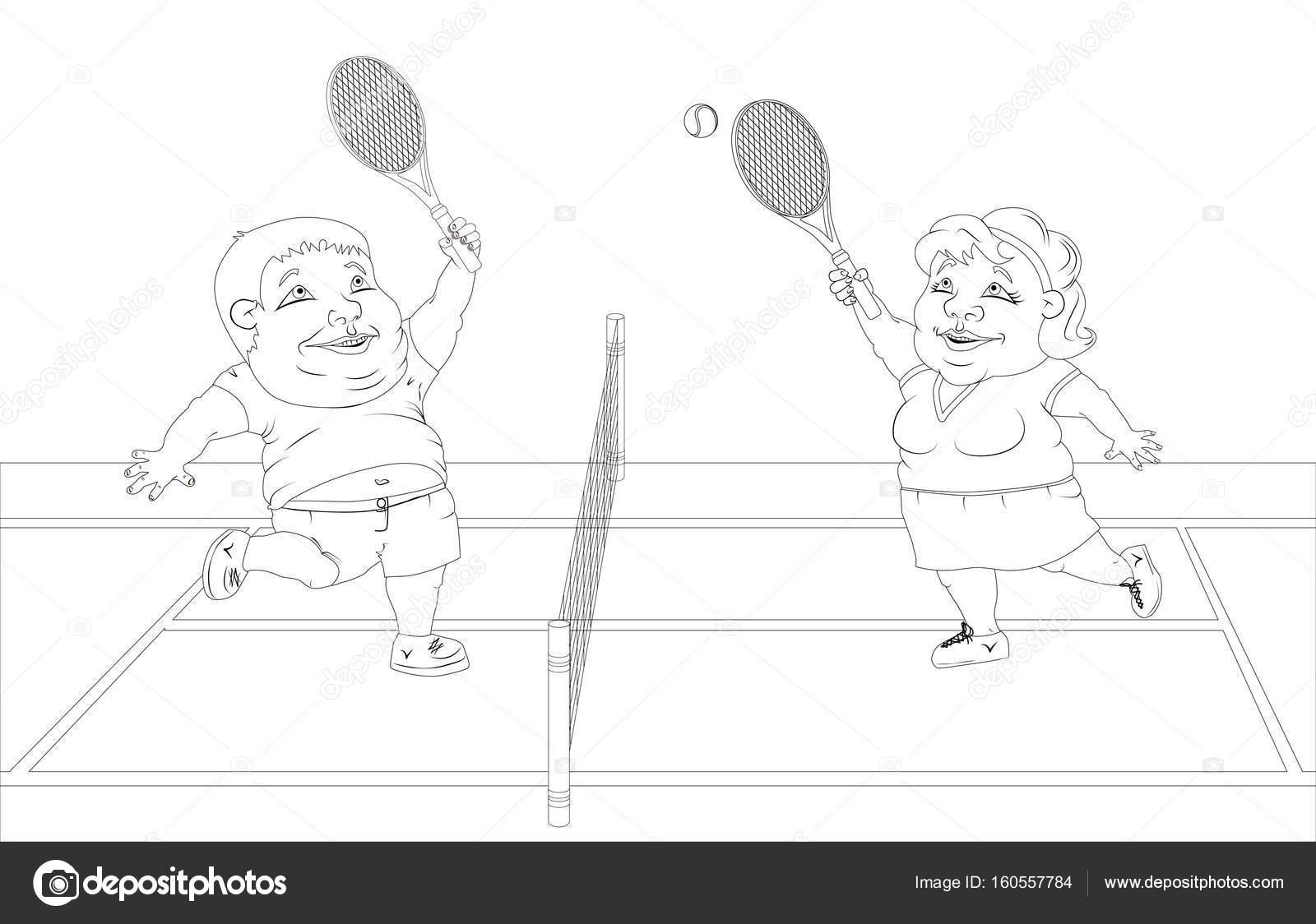 personas gordas jugando al tenis en la cancha. Foto blanco y negro ...
