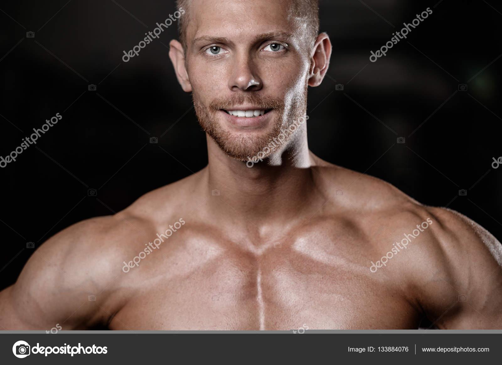 Schöne Männer Gesicht Nahaufnahme Portrait Im Fitness Studio Fitness