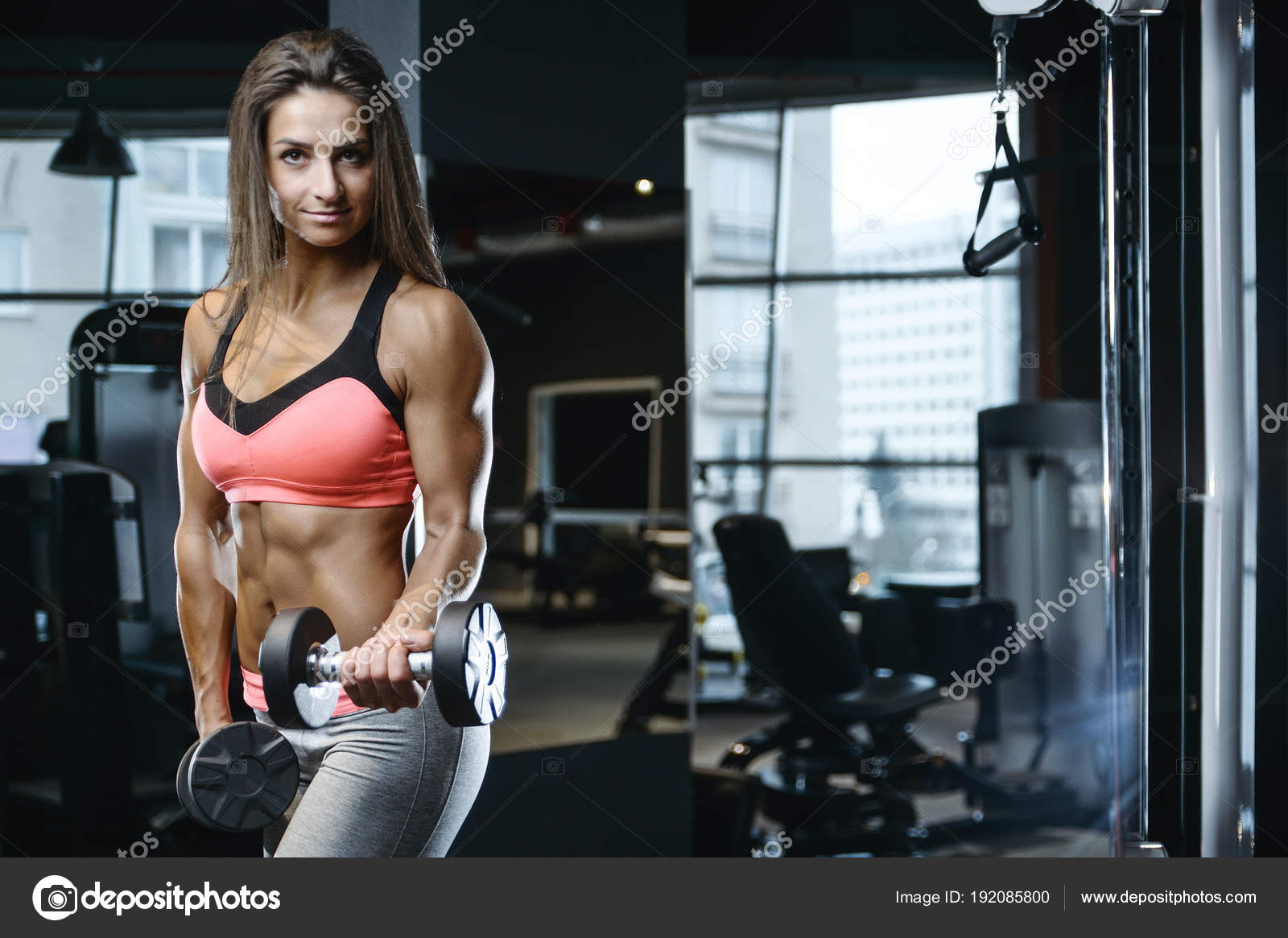 1f7b865bfe8e1 Beautiful strong sexy athletic muscular young caucasian fitness girl  workout training in the gym on diet pumping up abs muscles and posing  bodybuilding ...
