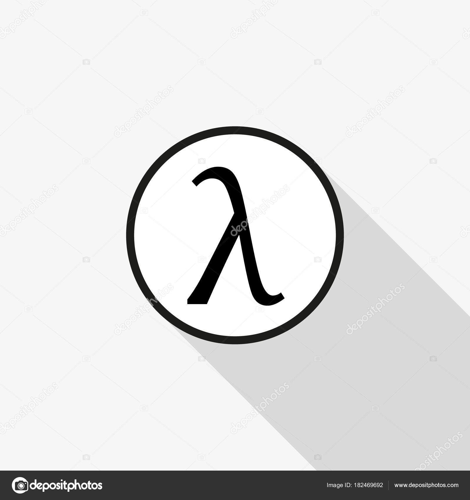 Greek Letter Lambda Symbol With A Long Shadow On The Background