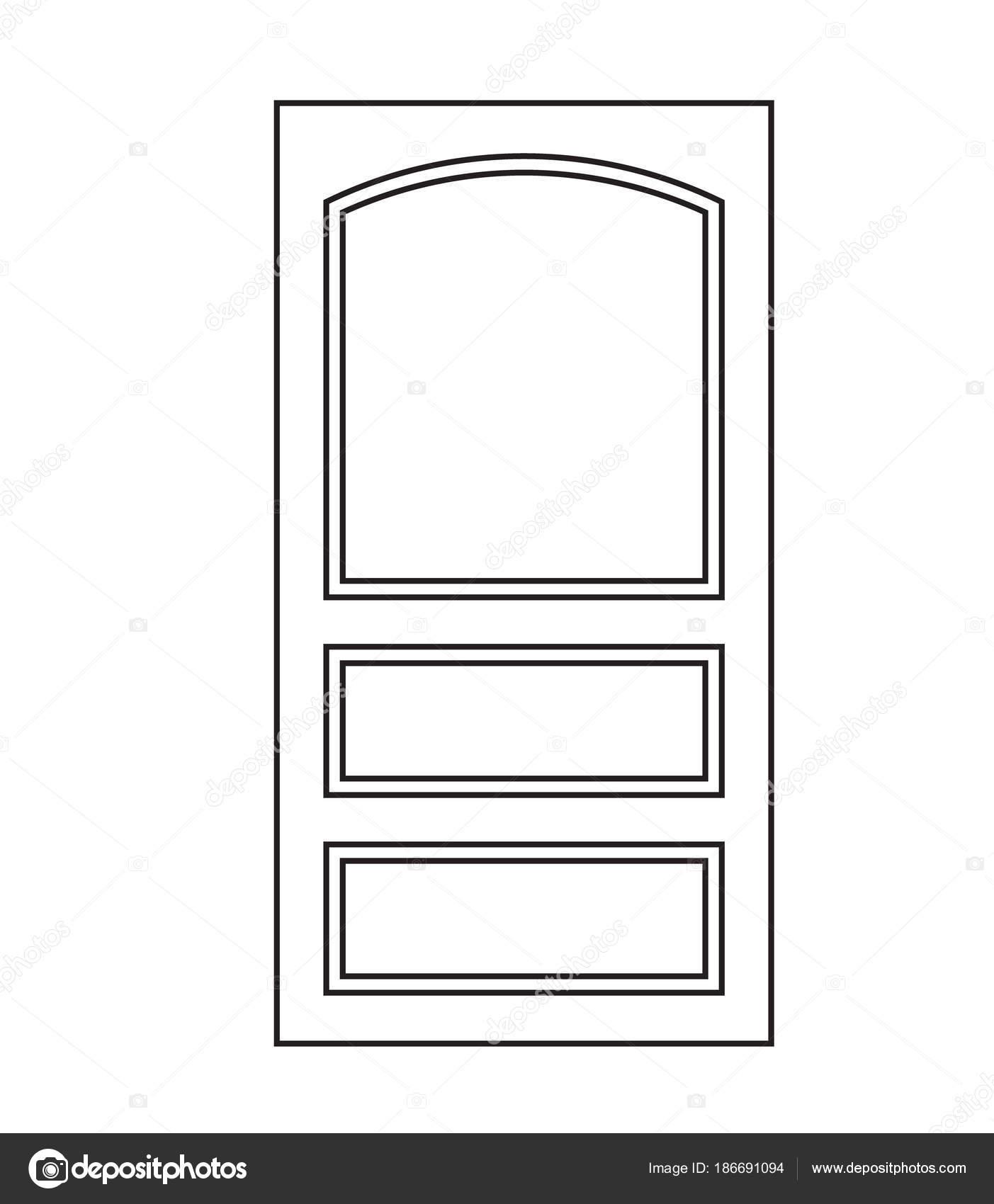 старая дверь икона изолированных иллюстрация вектор закрыть вверх