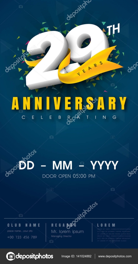 Anniversary invitation card template design stock vector 29 years anniversary invitation card celebration template vector by pattarasin stopboris Gallery
