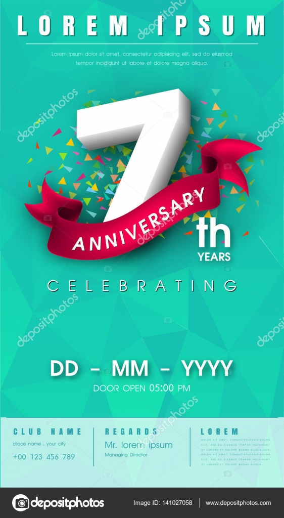 Anniversary invitation card template design stock vector 7 years anniversary invitation card or emblem celebration template design 7th anniversary modern design elements with l background polygon and pink stopboris Image collections