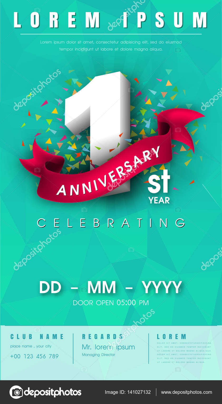 Anniversary invitation card template design stock vector 1 year anniversary invitation card or emblem celebration template design 1st anniversary modern design elements with green pastel background polygon and stopboris Images