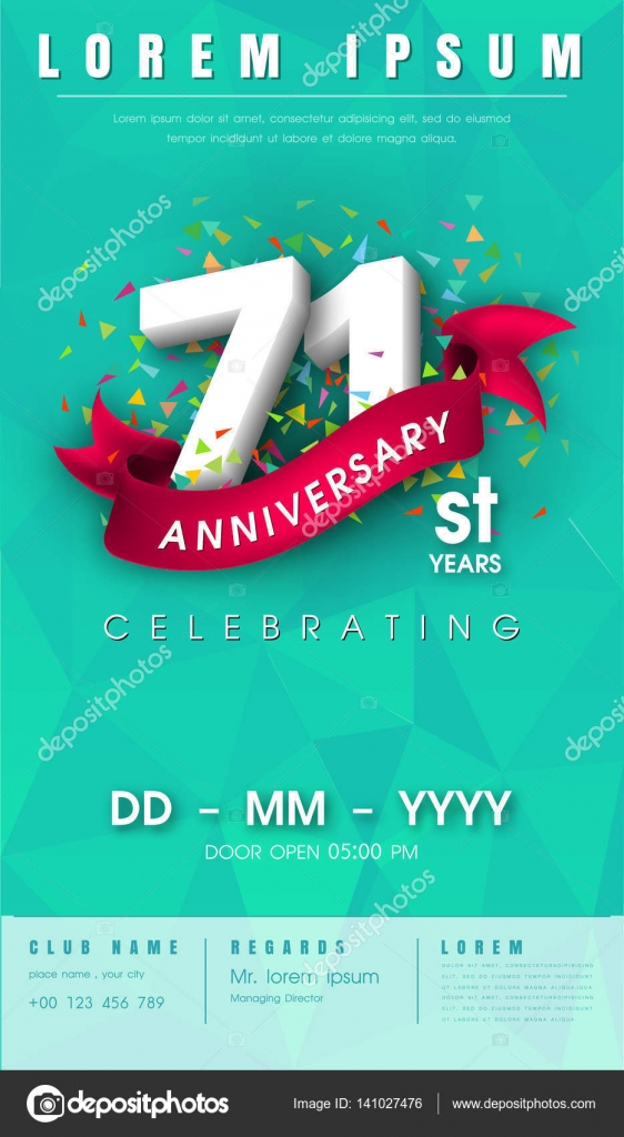 Anniversary invitation card or emblem template design stock 71 years anniversary invitation card or emblem celebration template design 71th anniversary modern design elements with background polygon and pink stopboris Gallery