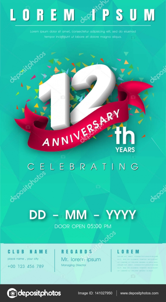 Anniversary invitation card template design stock vector 12 years anniversary invitation card or emblem celebration template design 12th anniversary modern design elements with background polygon and pink stopboris Image collections