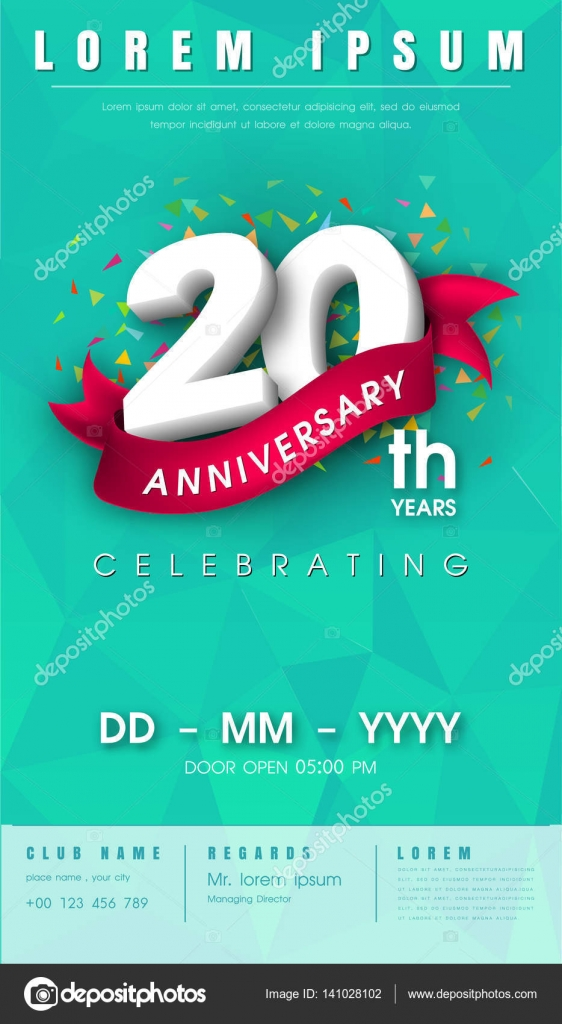 Anniversary invitation card template design stock vector 20 years anniversary invitation card or emblem celebration template design 20th anniversary modern design elements with background polygon and pink stopboris Image collections