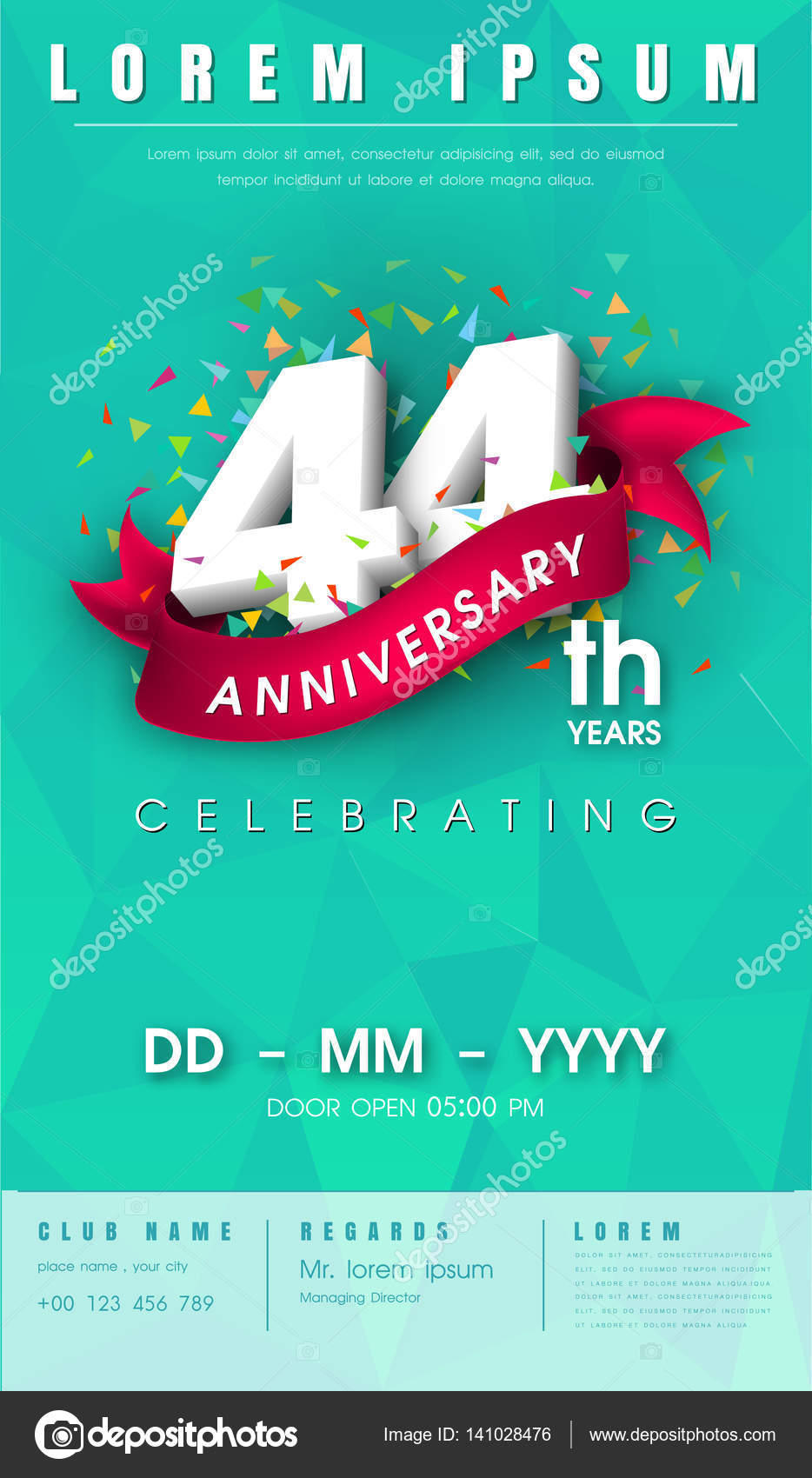 Anniversary invitation card or emblem template design vetor de 44 years anniversary invitation card or emblem celebration template design 44th anniversary modern design elements with background polygon and pink stopboris Image collections