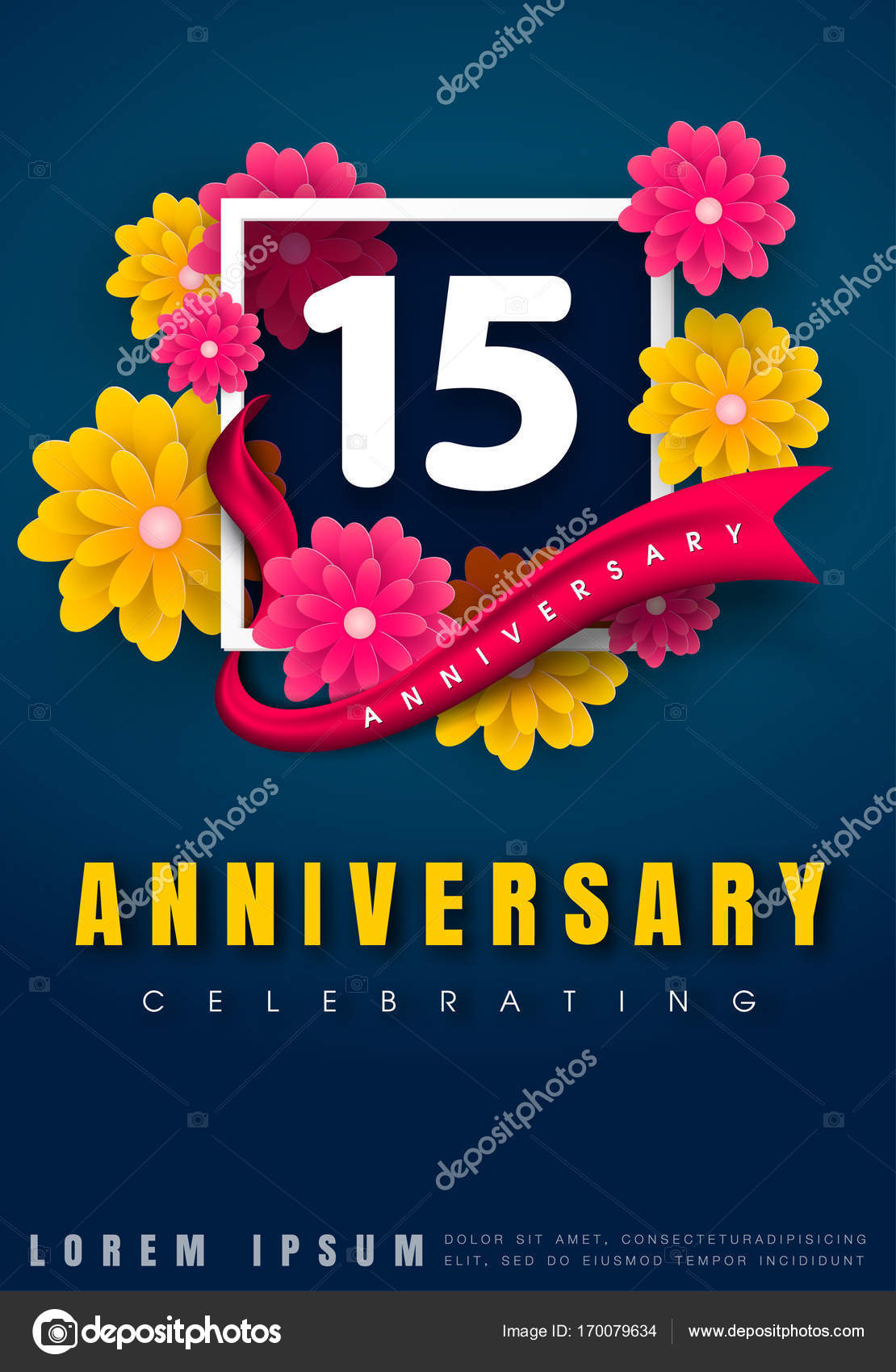 Anniversary invitation card template design stock vector 15 years anniversary invitation card celebration template design 15th anniversary with flowers and modern design elements dark blue background vector stopboris Image collections