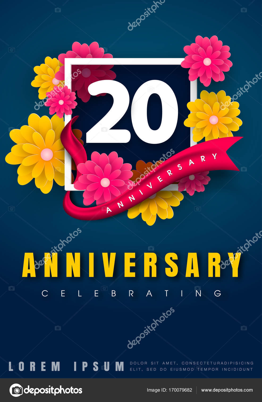 Anniversary invitation card template design vetor de stock 20 years anniversary invitation card celebration template design 20th anniversary with flowers and modern design elements dark blue background vector stopboris Gallery