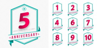 Set of Anniversary emblems , anniversary template design for web