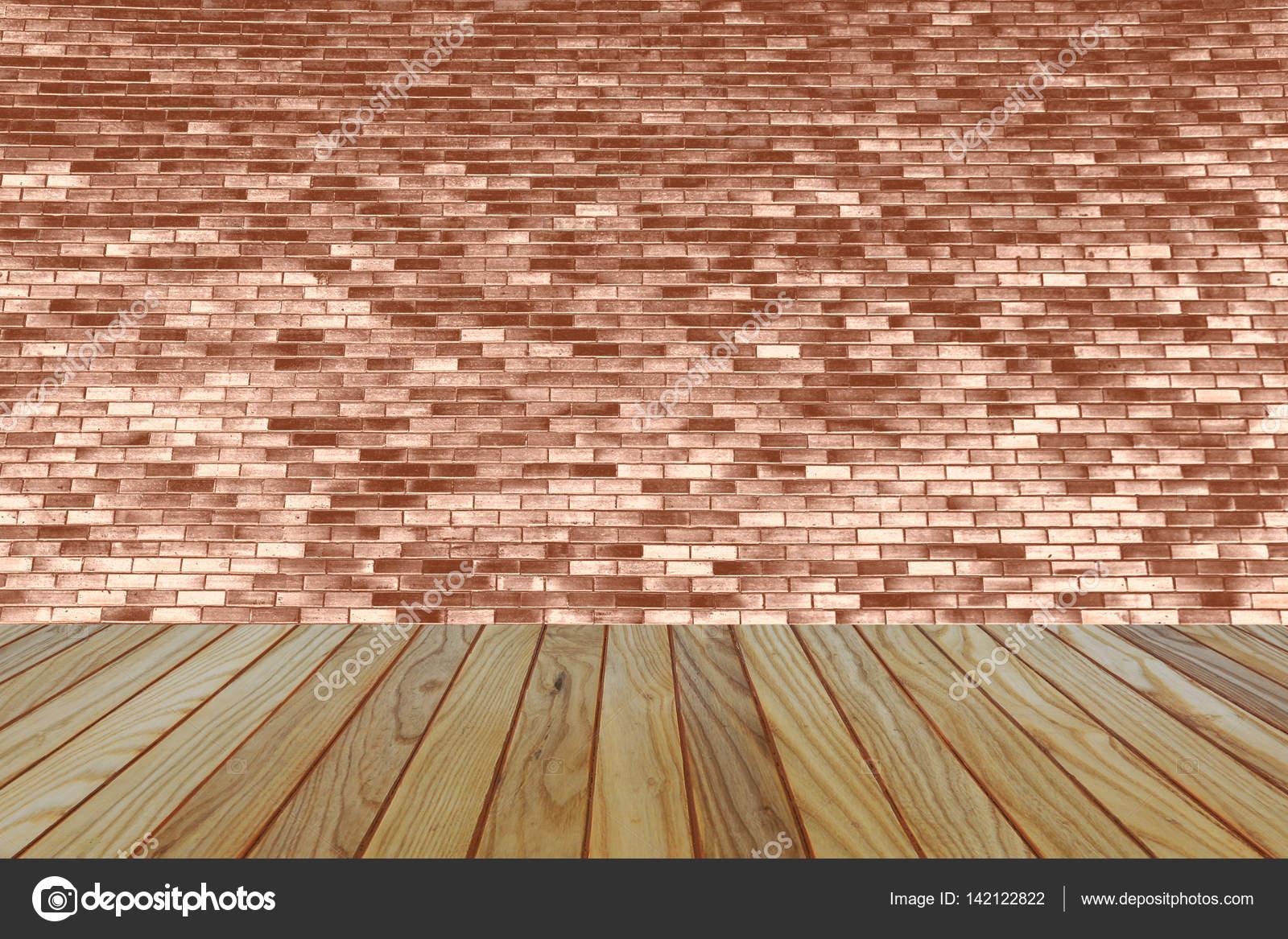 Zimmer Innen Jahrgang Mit Braunen Ziegel Wand Und Holz Boden Hintergrund U2014  Stockfoto