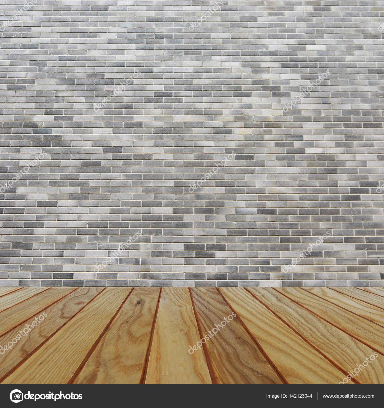 Zimmer Innen Jahrgang Mit Grauen Ziegel Wand Und Holz Boden Hintergrund U2014  Stockfoto