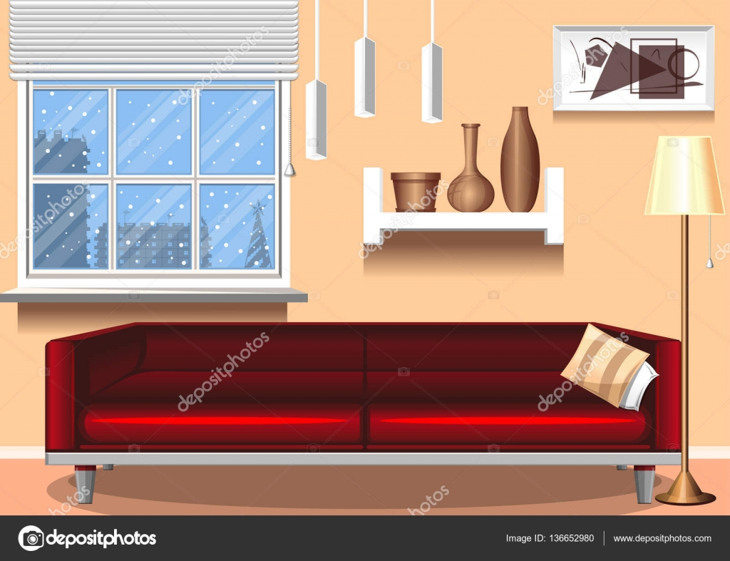 Amazing Interior Room. Template For Design. Abstract Objects   Vases, Painting, Floor  Lamp, Window, Sofa, Chandelier. Vector Illustration U2014 Vector By Sleepkill