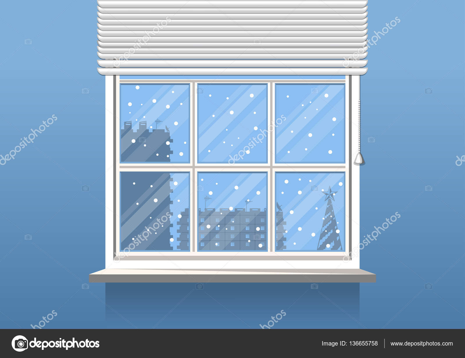 Home interior room with window background christmas for Window design template