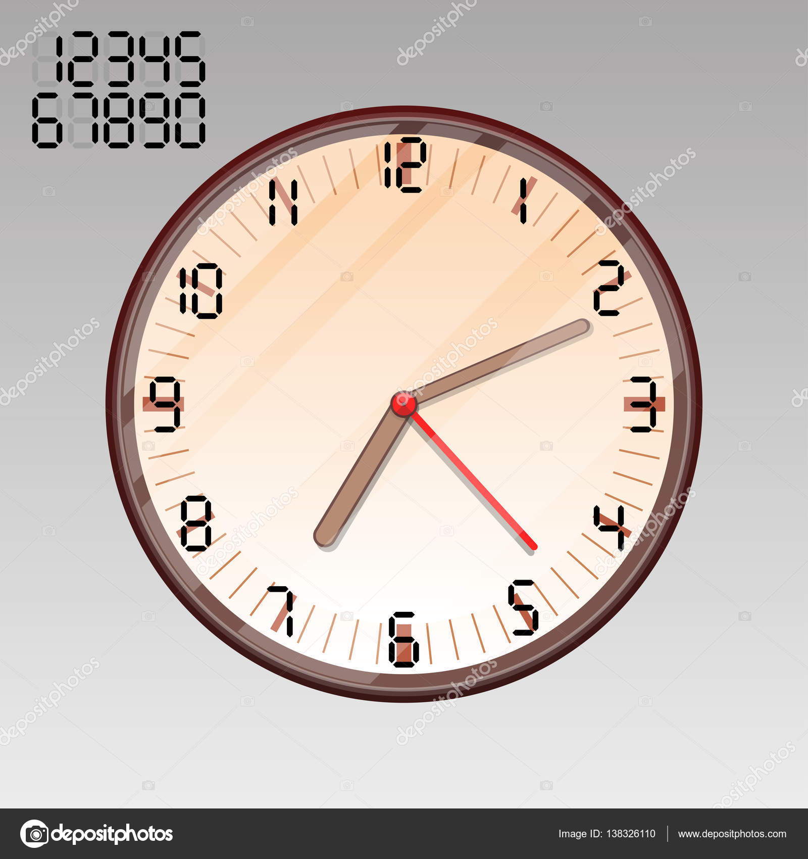 The Clock On The Wall Round Dial The Numbers From 1 To 12 The