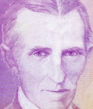 World famous inventor Nikola Tesla portrait close up on old Yugoslavia banknote