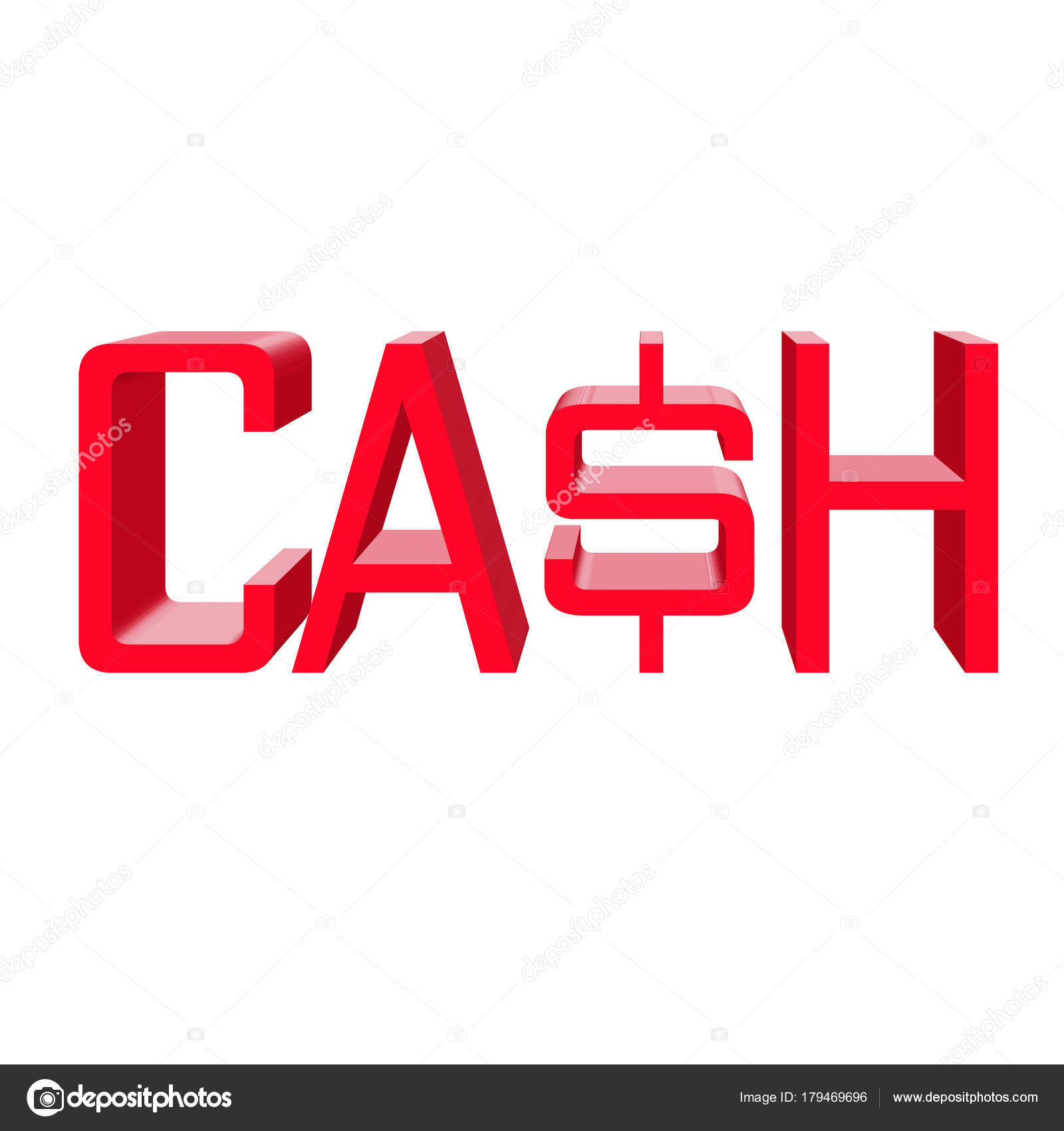 cash word sign red text on white background web icon 3d