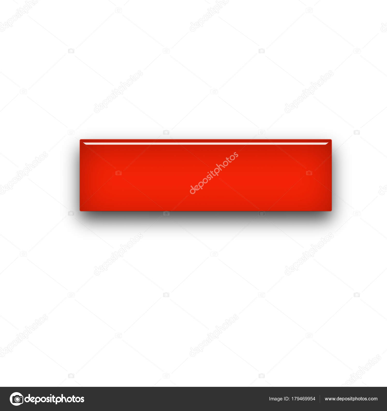 red blank rectangle glass buttons web icons template 3d