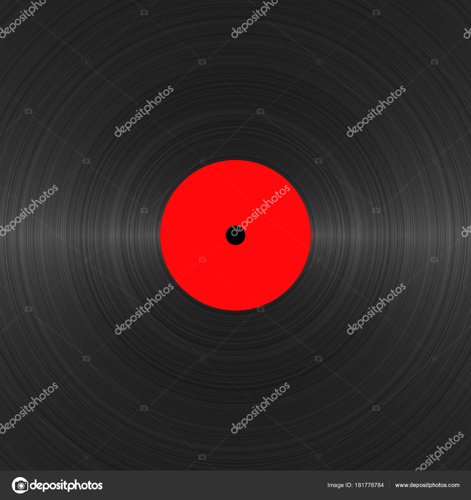 Vinyl Record With Blank Red Label Close Up Black Texture Vintage Template