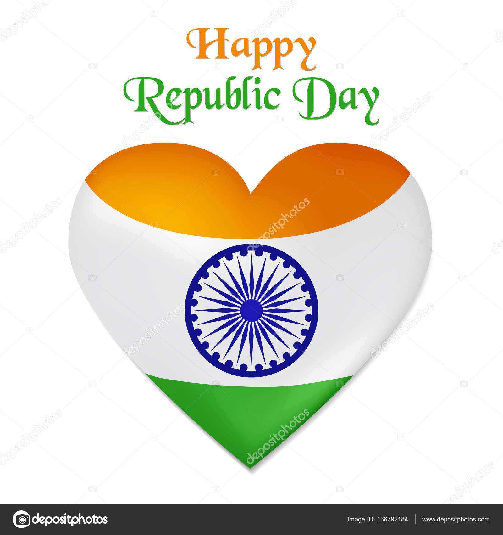 Vector illustration of Republic Day in India Heart looking as the