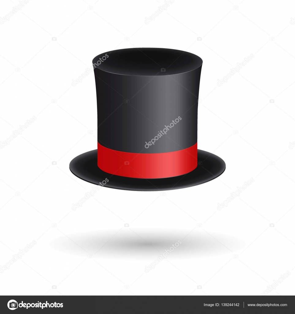 Fekete úriember hat henger piros szalaggal. Elegancia és a nemesi  szimbólum. Térfogati ikon elszigetelt fehér background. Vektoros  illusztráció. 165a843e0a