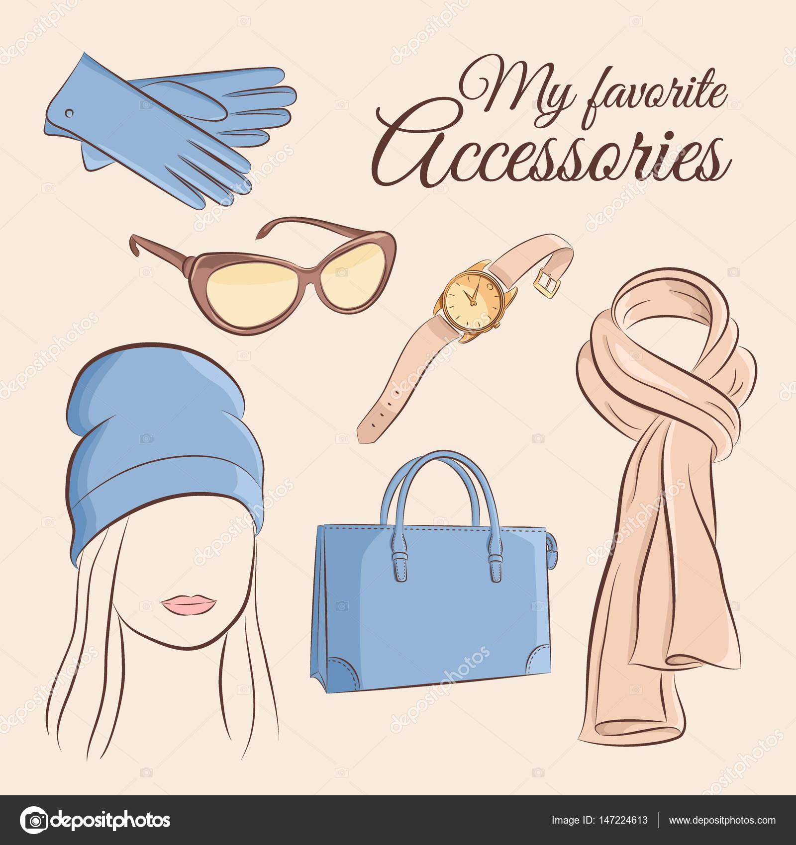 Jeu De Mode De Vecteur Illustration D Un Accessoire De Mode Elegant