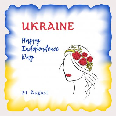 Vector illustration, greeting card, banner or poster Independence day of Ukraine. The watercolor frame is painted in blue and yellow colors of the Ukrainian flag. A beautiful girl with flowers in her