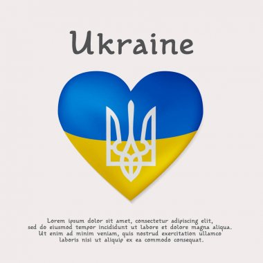 Vector illustration, greetings card, banner or poster theme of Ukraine. The volumetric heart is painted in blue and yellow colors of the Ukrainian flag and the coat of arms is a trident coat.